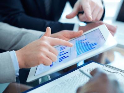 Financial data on an iPad